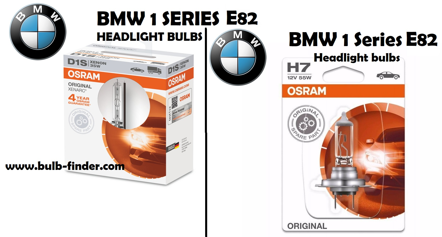 BMW 1 Series E82 headlight bulbs type