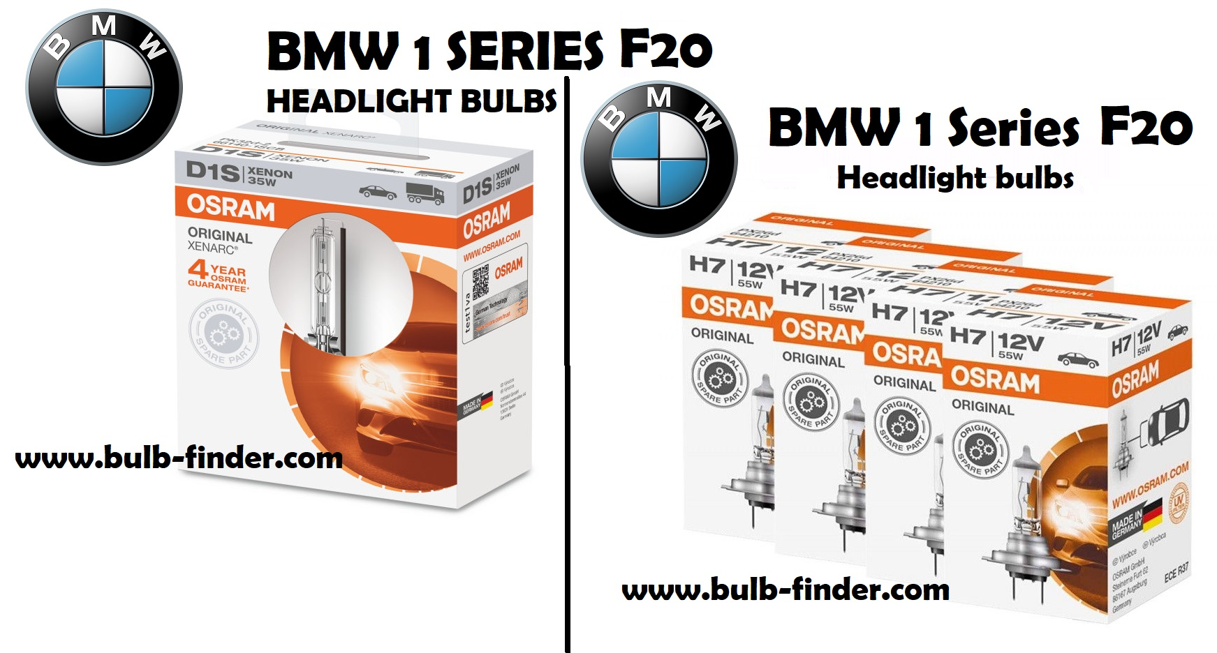 BMW 1 Series F20 headlights bulbs type