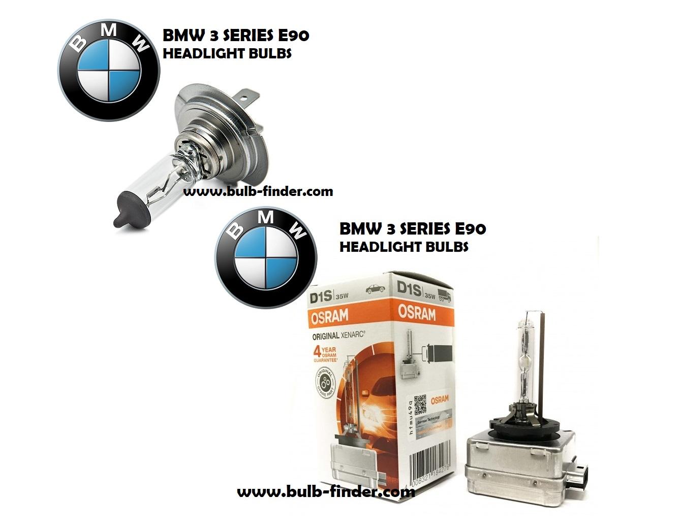 BMW 3 Series E90 headlight bulbs models