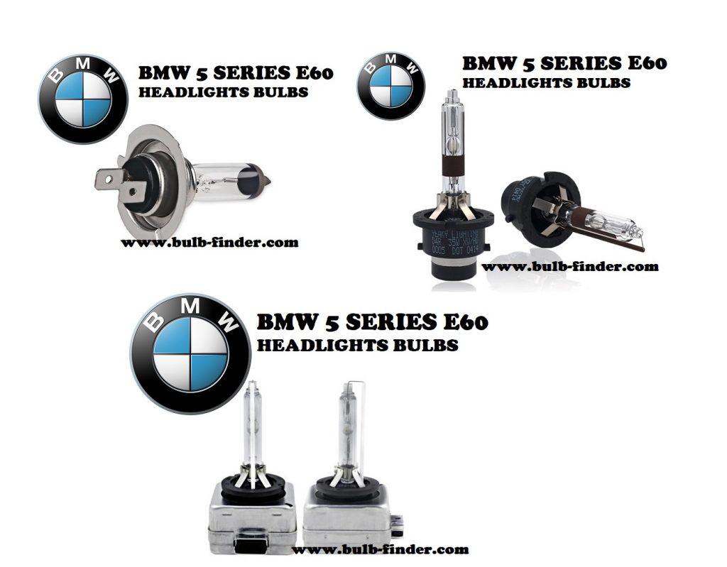 BMW 5 Series E60 headlights bulbs model