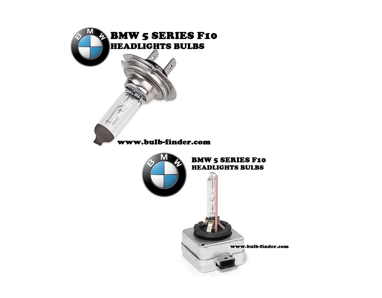 BMW 5 Series F10 headlights bulbs model
