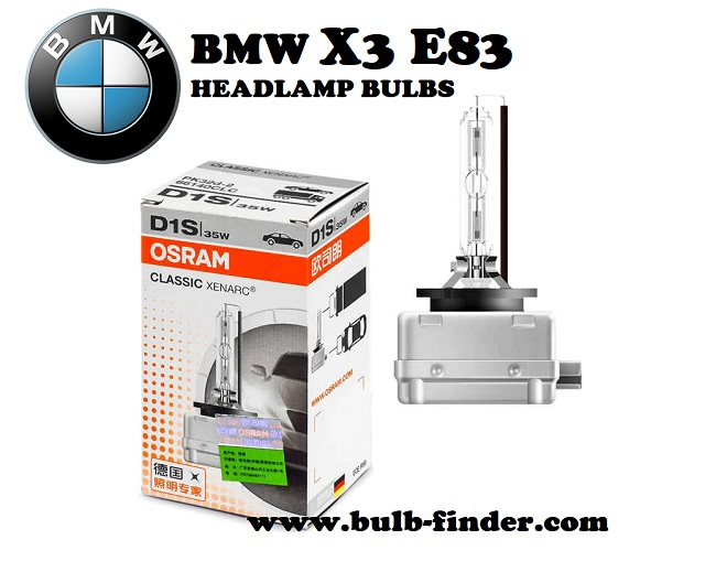 BMW X3 E83 front headlamps bulbs type