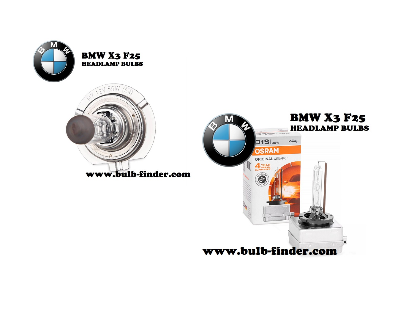 BMW X3 F25 headlight bulbs model