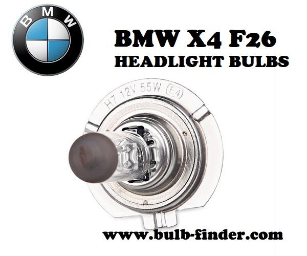 BMW X4 F26 headlight bulbs model