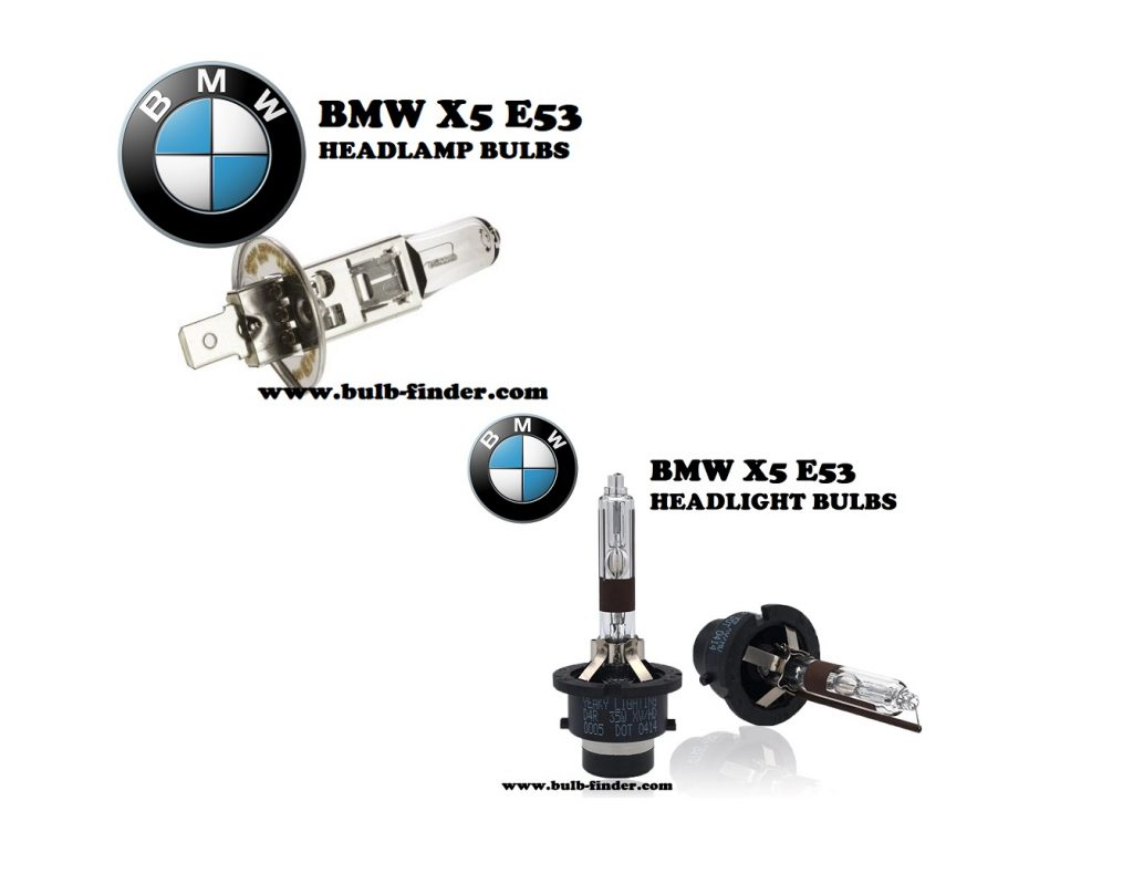 BMW X5 E53 front headlamps bulbs type