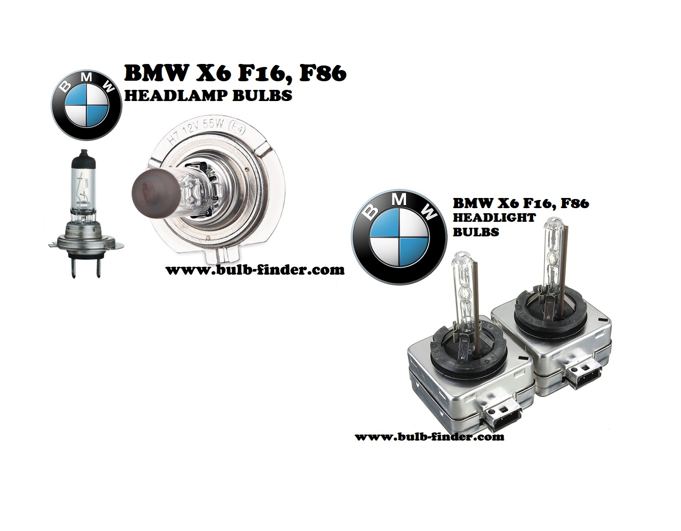 BMW X6 F16, F86 front headlamps bulbs type