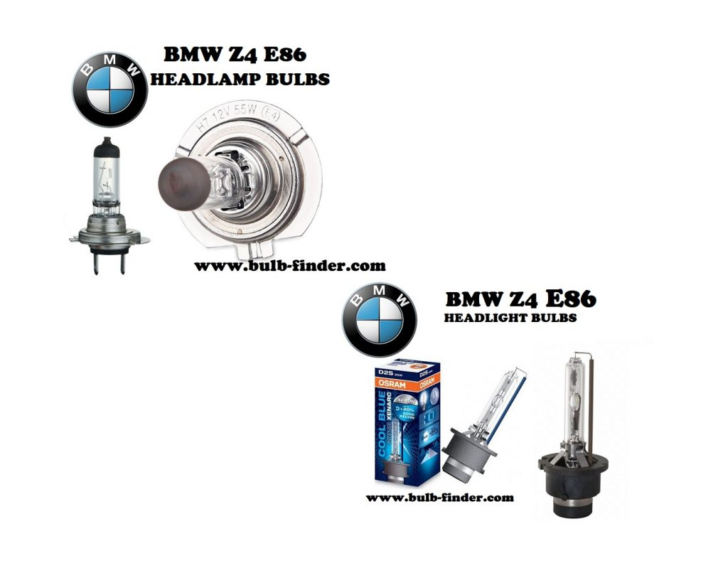BMW Z4 E86 front headlamps bulbs type