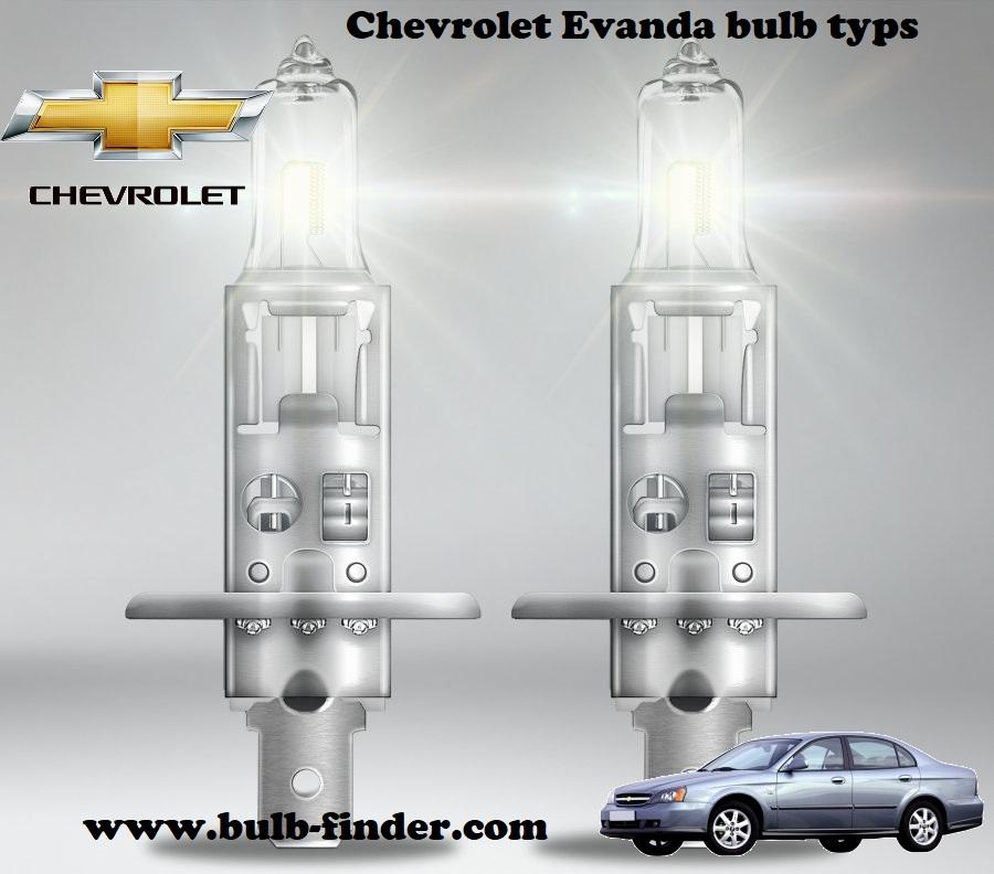 Chevrolet Evanda headlamp bulb spec