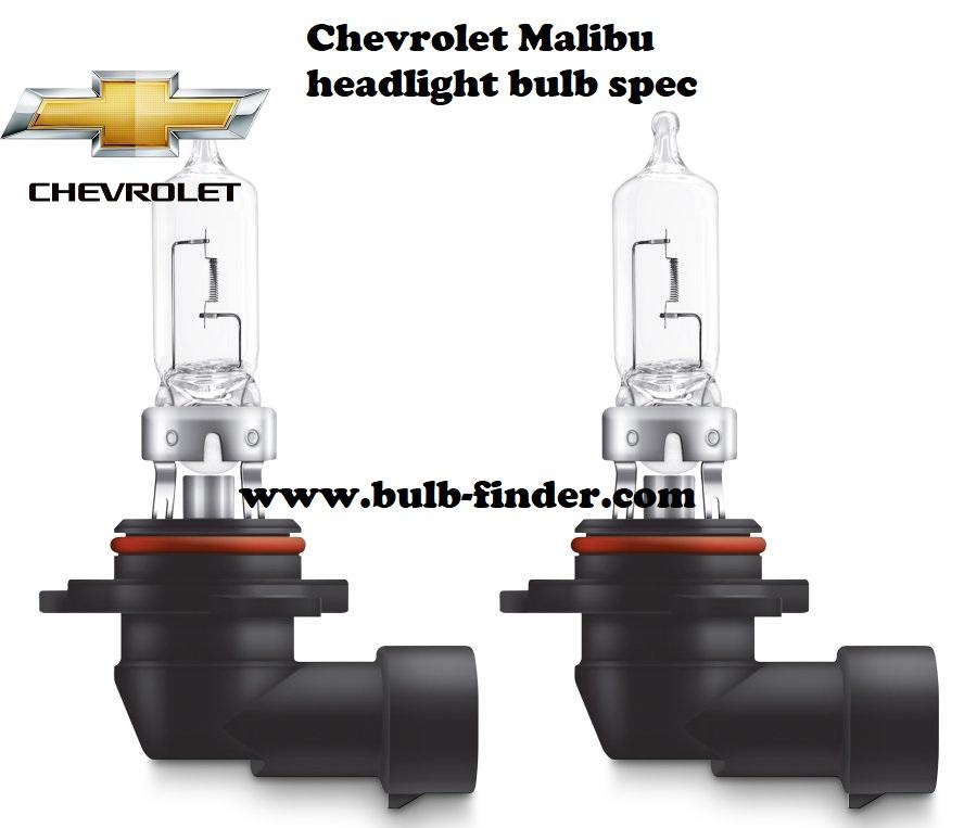 Chevrolet Malibu headlamp bulb specification