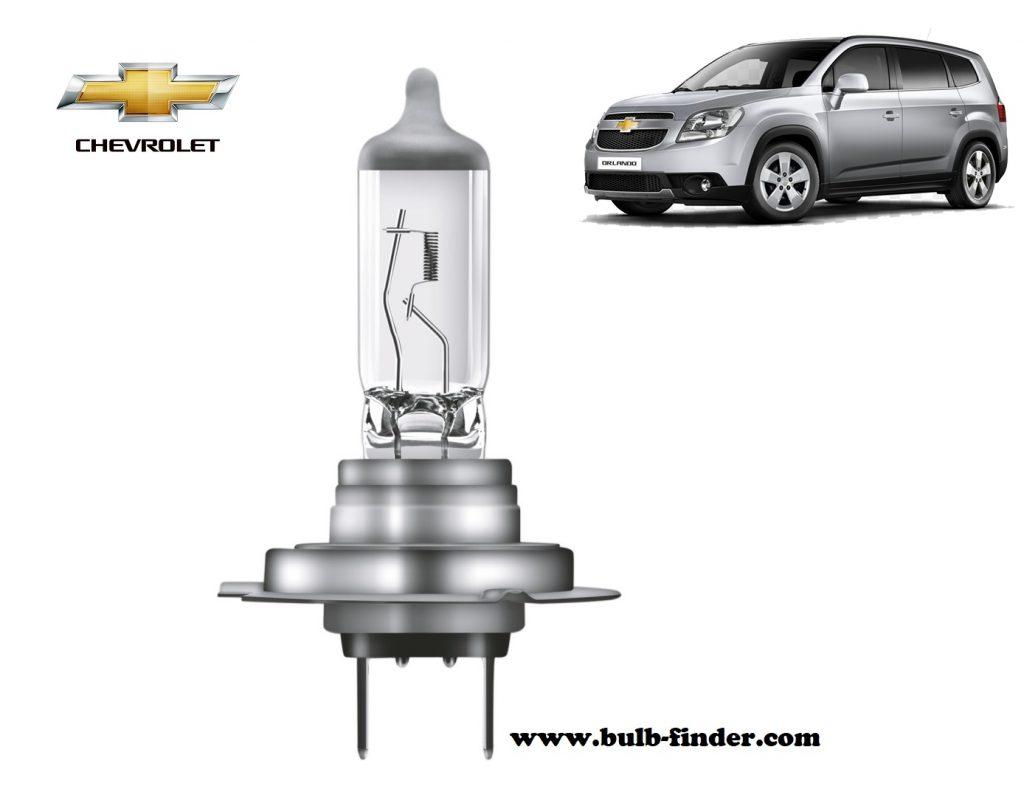 Chevrolet Orlando headlamp bulb specification