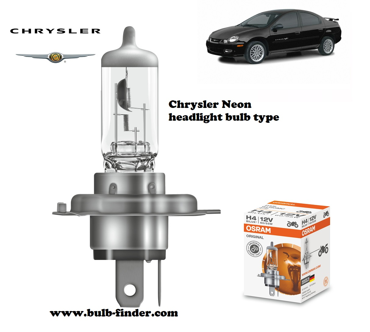 Chrysler Neon MK2 headlamp bulb specification