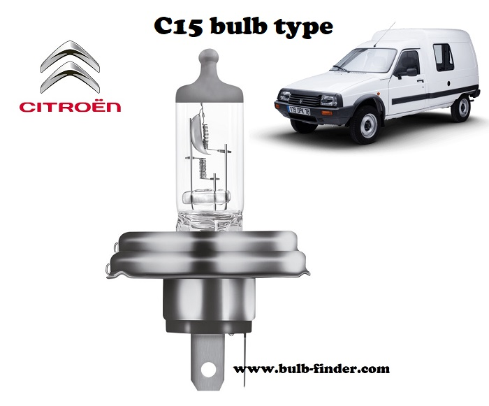 Citroen C15 headlamp bulb specification