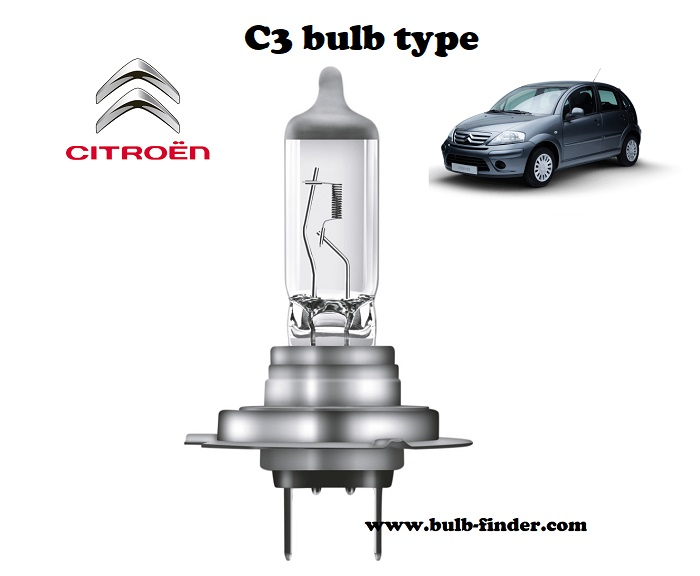 Citroen C3 headlamp bulb specification