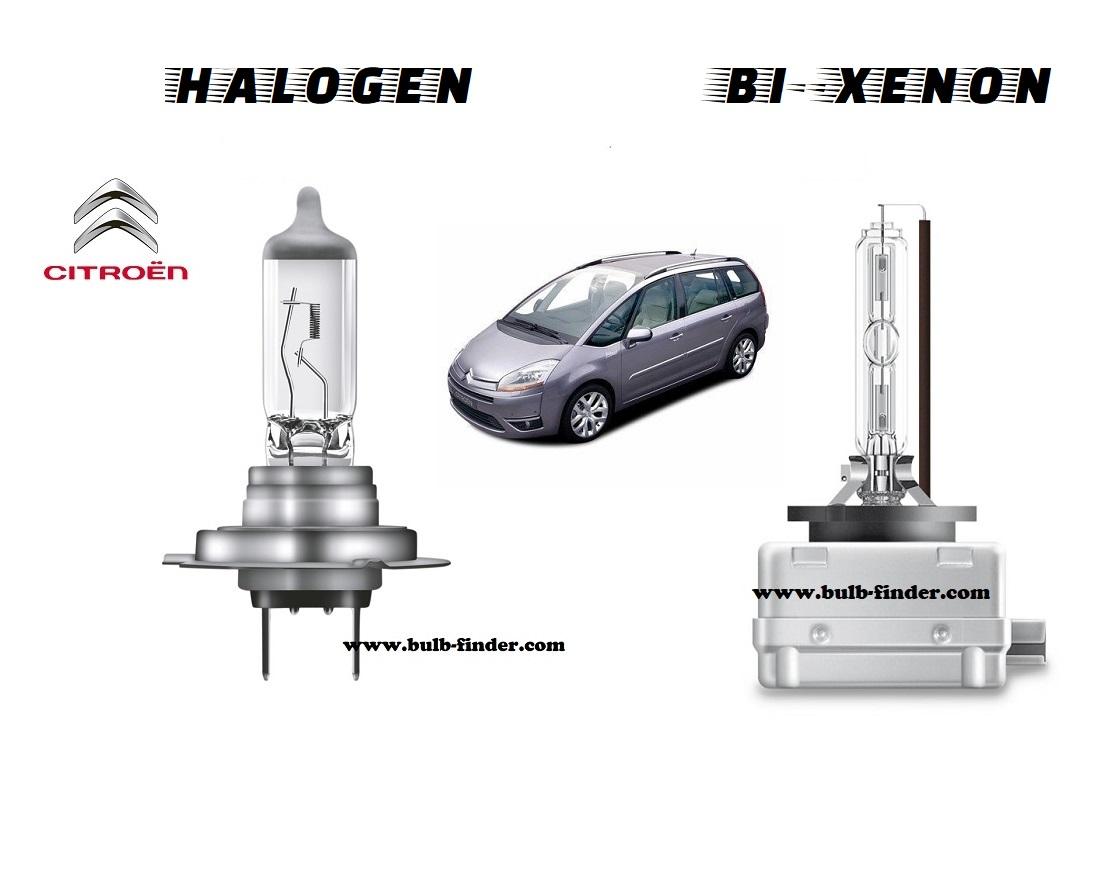 Citroen C4 Grand Picasso headlamp bulb specification