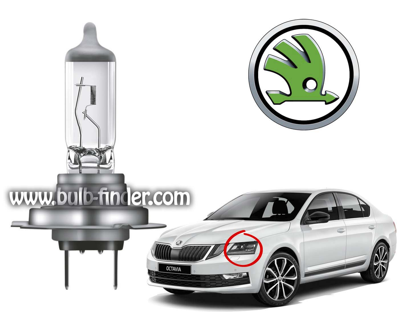 Skoda Octavia bulb model LOW BEAM