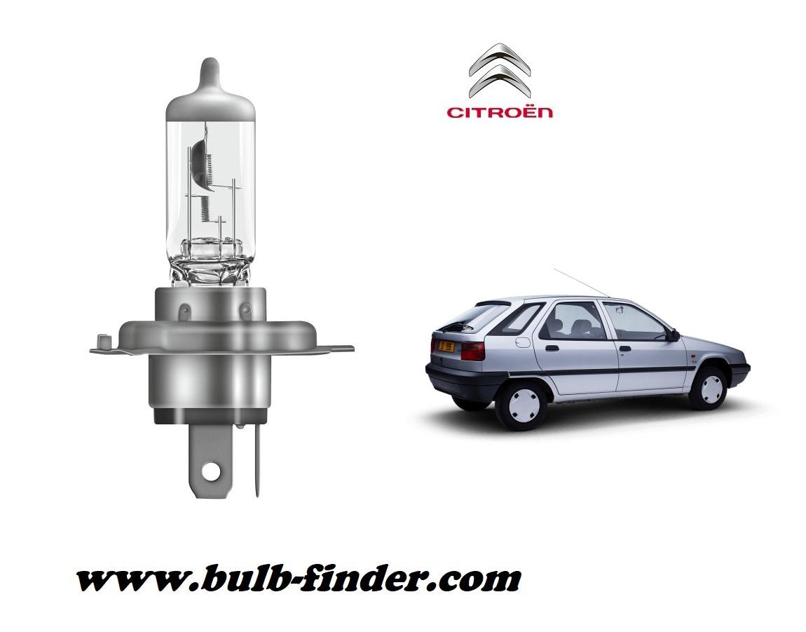 Citroen ZX bulb model LOW BEAM specification