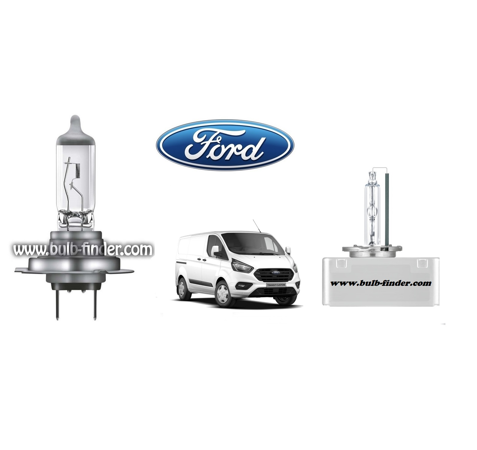 Ford Transit Custom bulb model LOW BEAM specification
