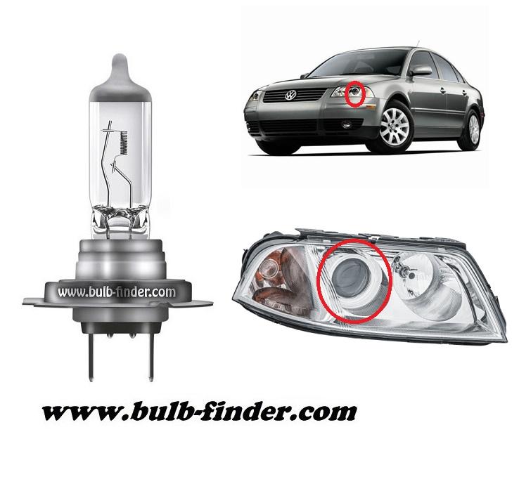 VW Passat B5.5 FL model bulb for LOW BEAM HEADLIGHT specification