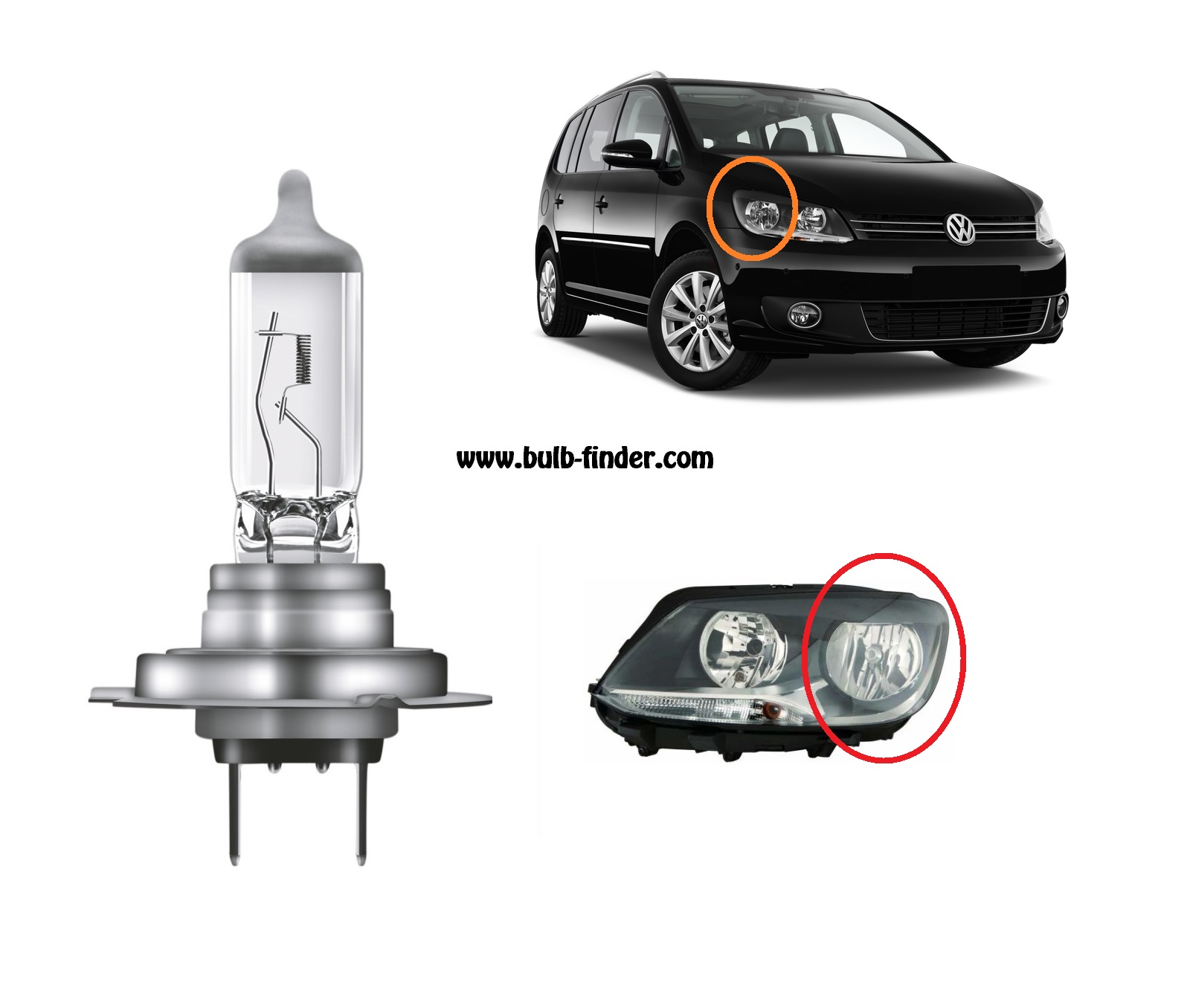VW Touran model bulb for LOW BEAM HEADLIGHT specification