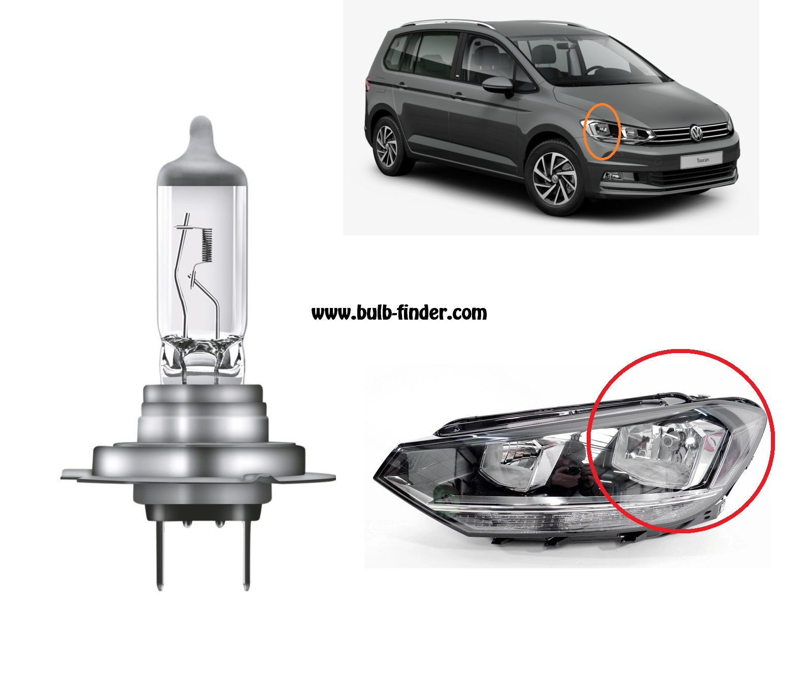 VW Touran model bulb for LOW BEAM HEADLIGHT specification