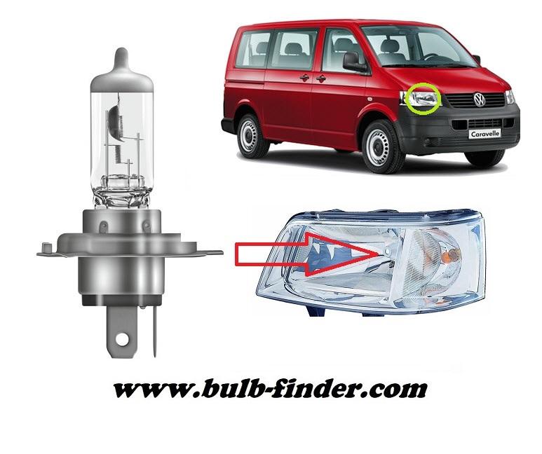 VW Transporter mk5 / Caravelle V T5 bulbs specification for halogen headlamp