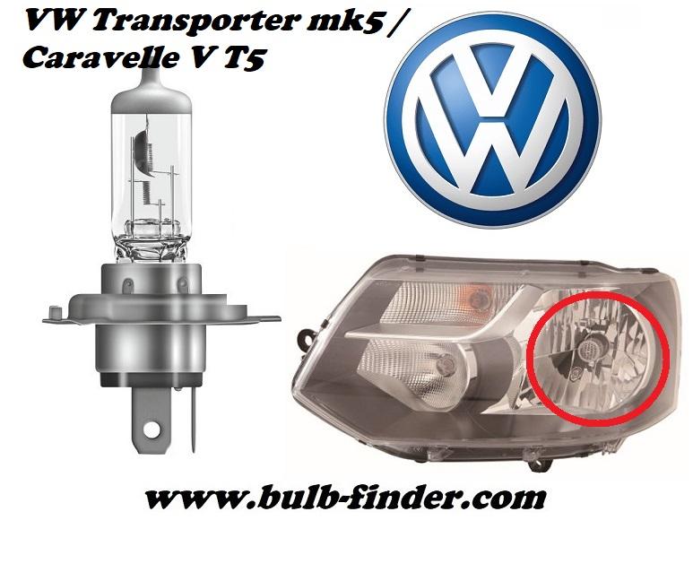 Volkswagen Transporter mk5 / Caravelle V T5 bulbs specification for halogen headlamp
