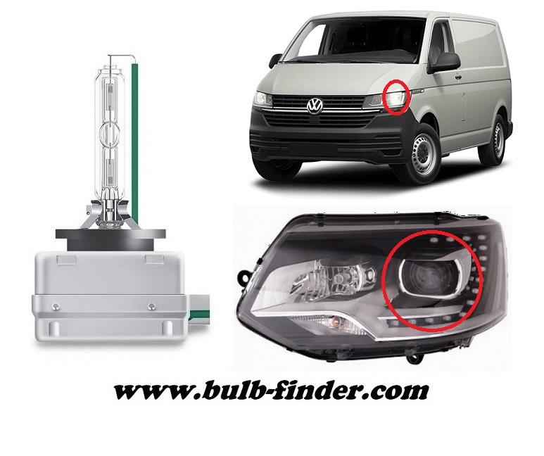 Volkswagen Transporter mk5 / Caravelle V T5 bulbs specification for xenon headlamp