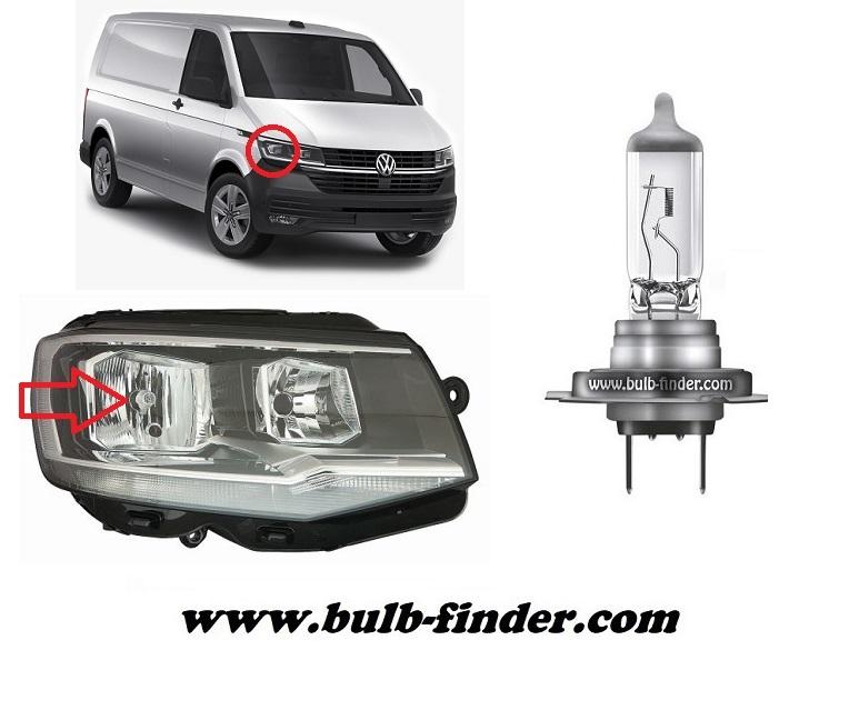 Volkswagen Transporter mk6 / Caravelle VI T6 bulbs specification for halogen headlamp