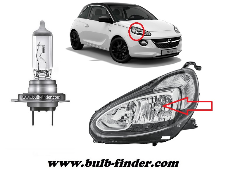 Vauxhall Adam bulbs specification for halogen headlamp