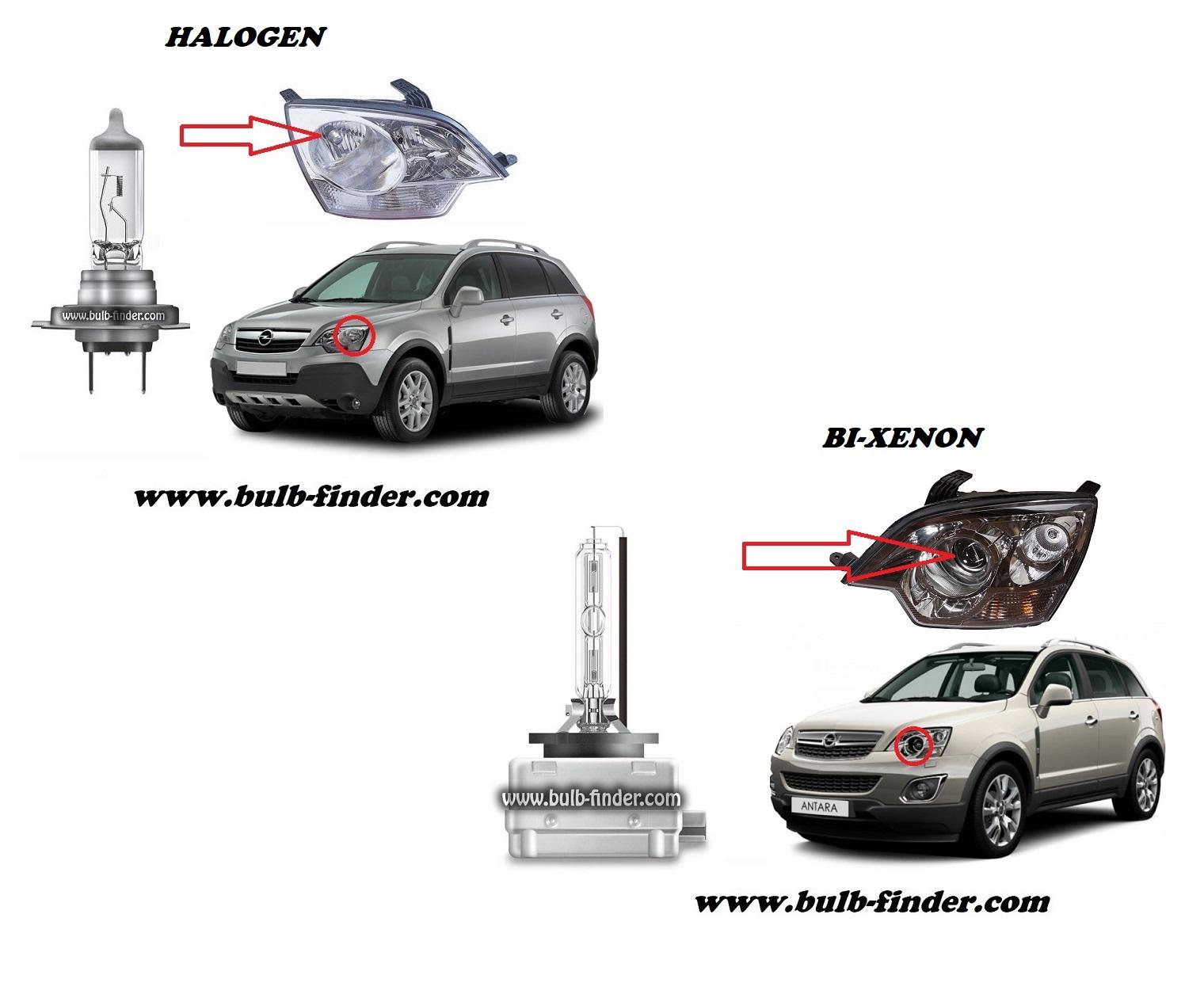 Vauxhall Antara bulbs specification for halogen headlamp