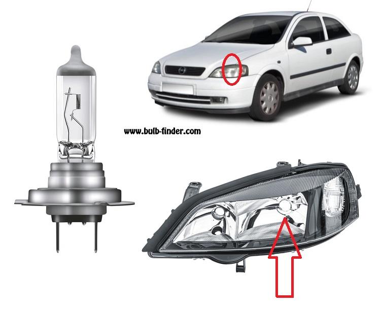 Vauxhall Astra Mk4 bulbs specification for halogen headlamp