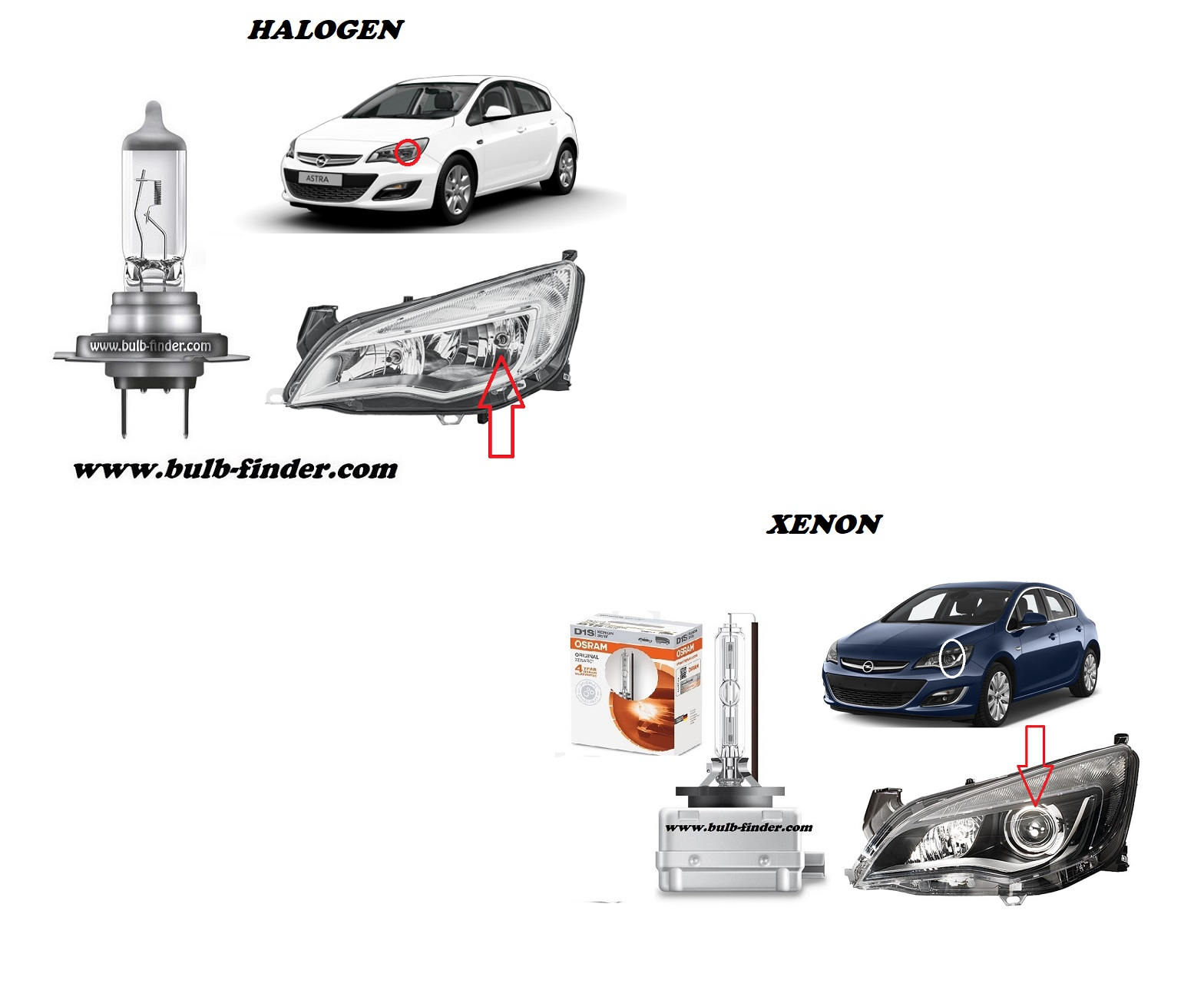 Vauxhall Astra Mk6 bulbs specification for halogen headlamp