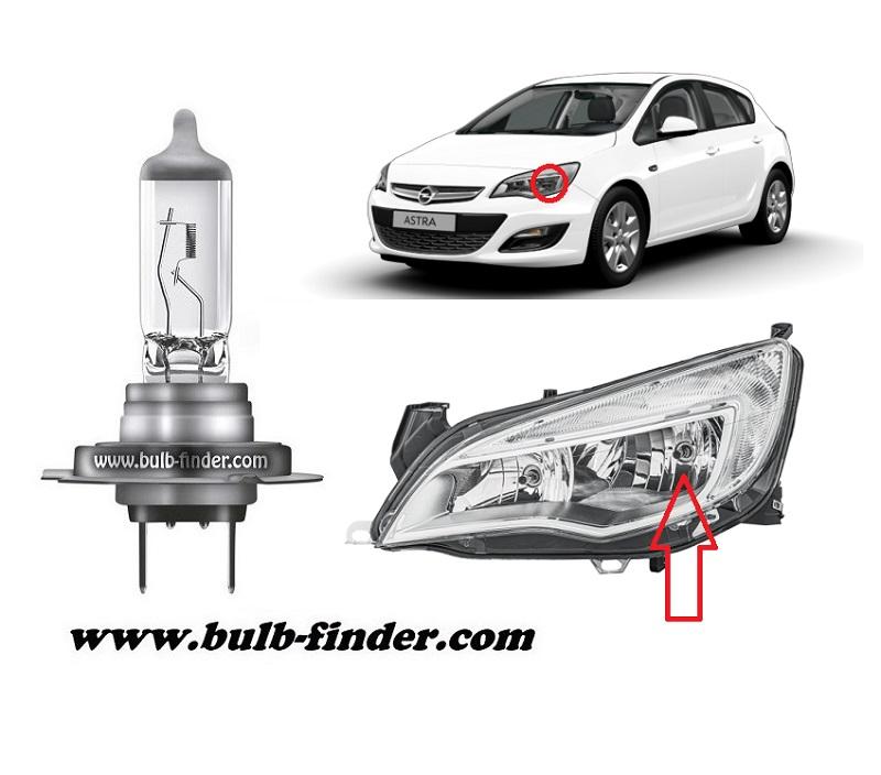 Vauxhall Astra Mk6 bulbs specification for halogen headlamp