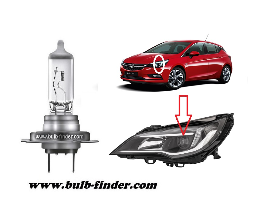 Vauxhall Astra Mk7 bulbs specification for halogen headlamp