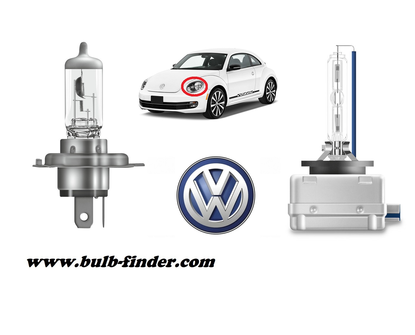 VW Beetle model bulb for LOW BEAM HEADLIGHT specification