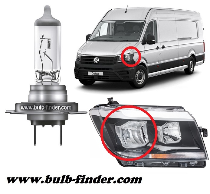 VW Crafter Facelift model bulb for LOW BEAM HEADLIGHT specification