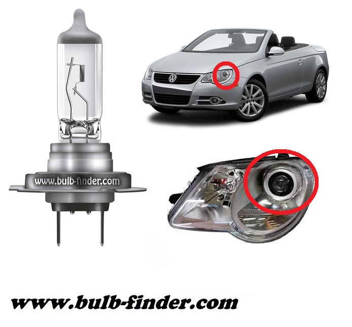 VW EOS model bulb for LOW BEAM HEADLIGHT specification