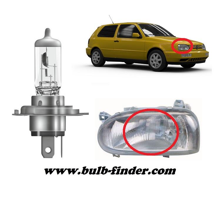 VW Golf mk3 model bulb for LOW BEAM HEADLIGHT specification