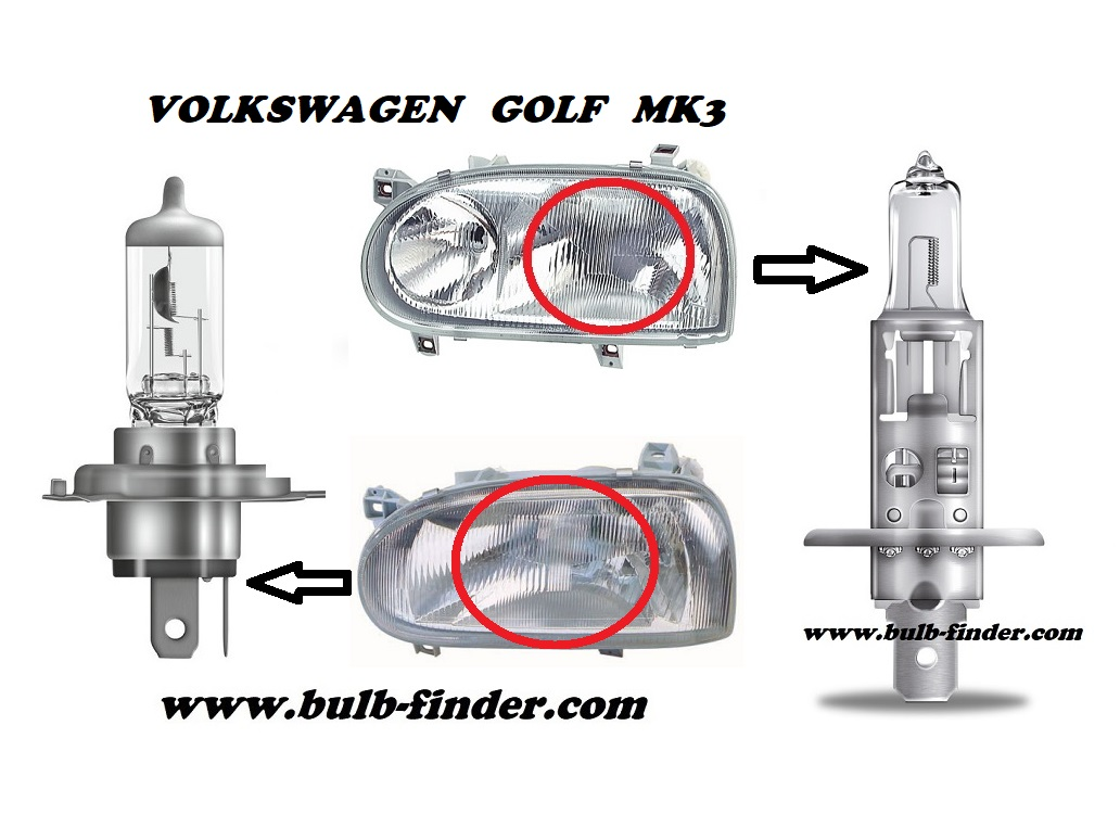 VW Golf mk3 model bulb for LOW BEAM HEADLIGHT specification