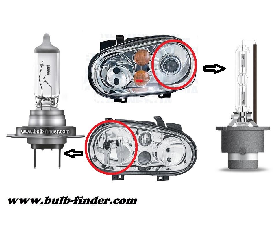 VW Golf mk4 model bulb for LOW BEAM HEADLIGHT specification