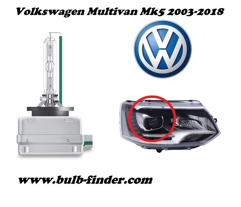 VW Multivan Five model bulb for LOW BEAM HEADLIGHT specification