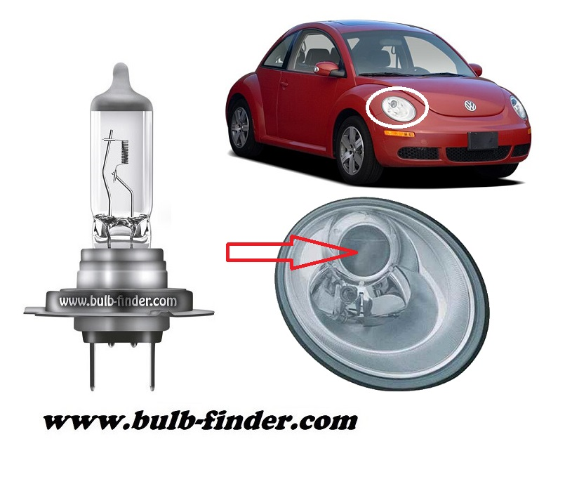 VW New Beetle model bulb for LOW BEAM HEADLIGHT specification