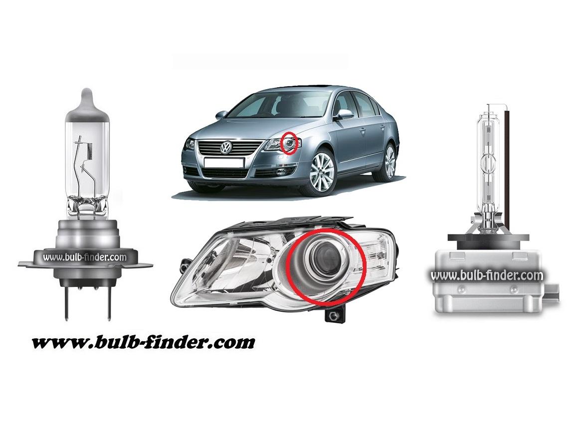 VW Passat B6 model bulb for LOW BEAM HEADLIGHT specification