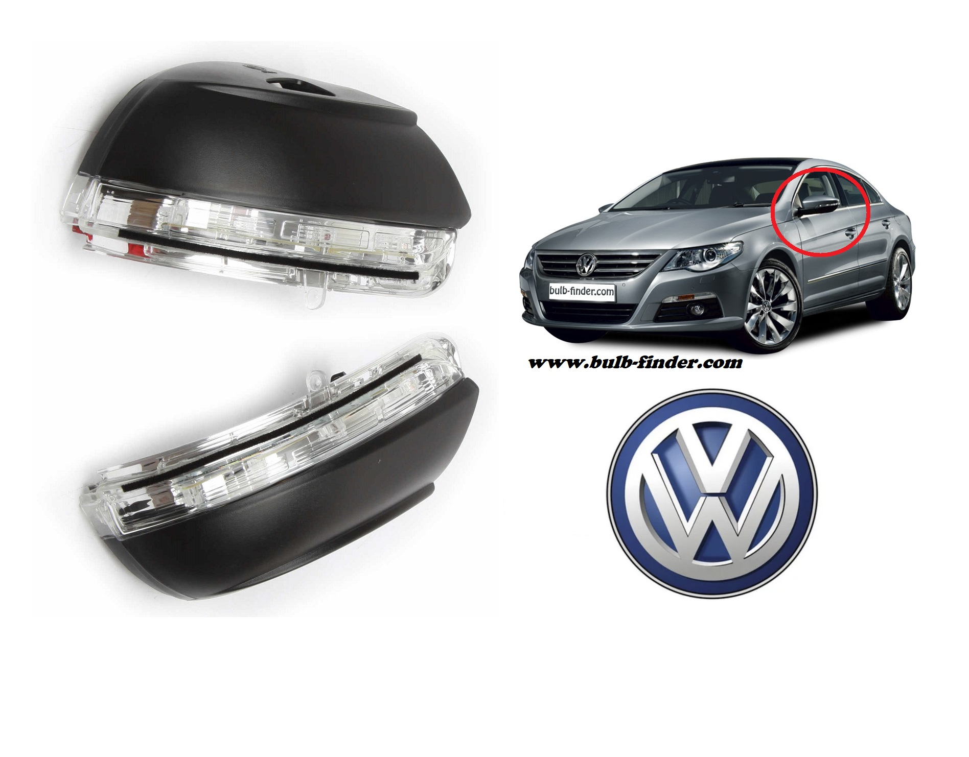 VW Passat CC 2008-2012 bulb type MIRROR TURN SIGNAL spec