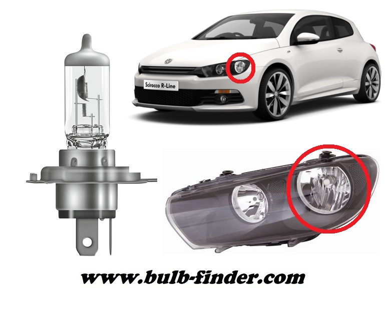 VW Scirocco model bulb for LOW BEAM HEADLIGHT specification