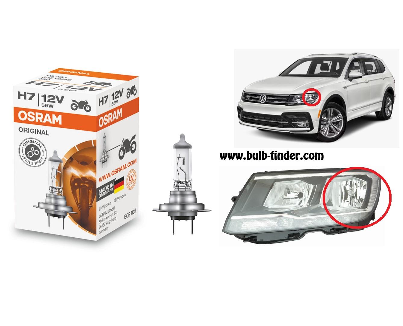 VW Tiguan model bulb for LOW BEAM HEADLIGHT specification