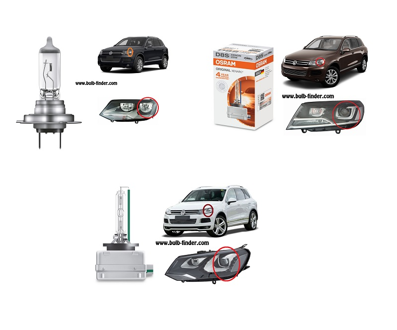 VW Touareg model bulb for LOW BEAM HEADLIGHT specification