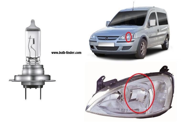 Vauxhall Combo II bulbs specification for halogen headlamp