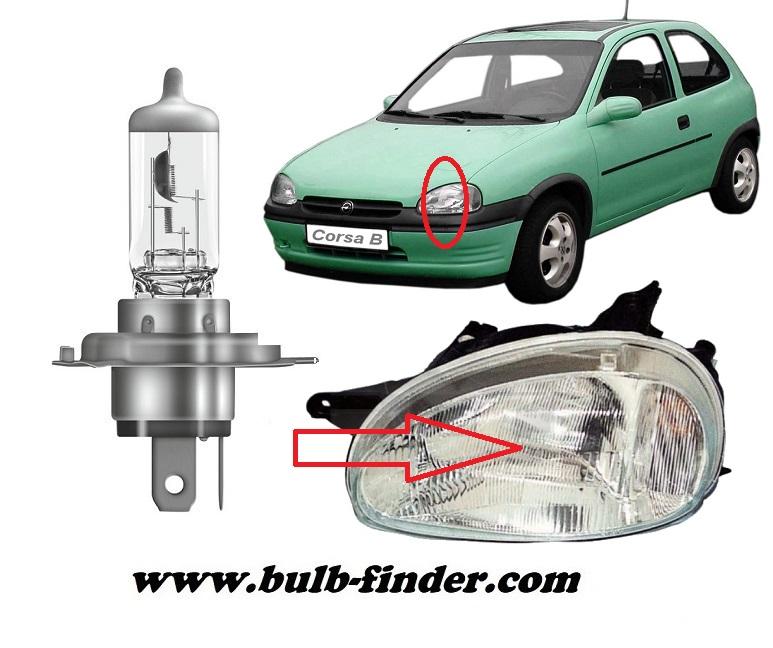 Vauxhall Corsa mk2 bulbs specification for halogen headlamp