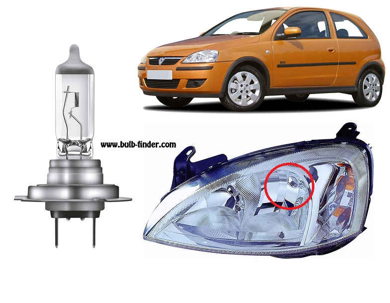 Vauxhall Corsa mk3 bulbs specification for halogen headlamp